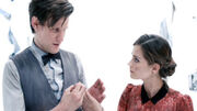 Eleventh Doctor and Clara heart of the TARDIS midshot Journey to the Centre of the TARDIS