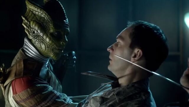 File:Vastra overthrows Demon's Run security booth.jpg