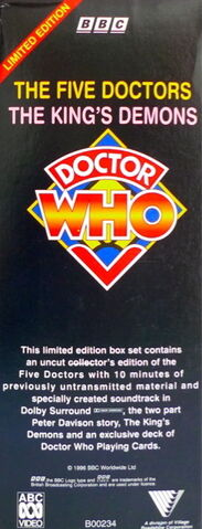 File:The Five Doctors and The Kings Demons VHS box set Australian spine1.jpg