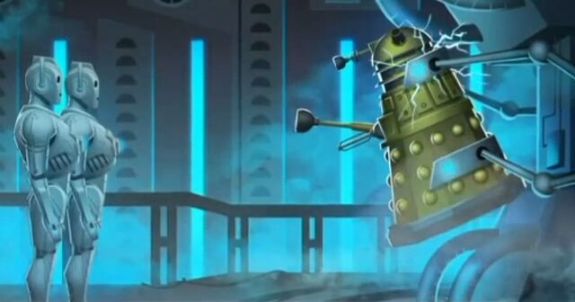 File:The Doctor and The Dalek Cybermen vs Dalek.jpg