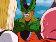 Cell confronts 18 and Krillin