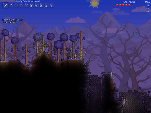 Archivo:Terraria Corruption Biome with Chasms.jpg