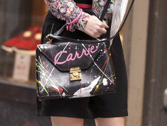 DIY Clothes Carrie Diaries Black Purse with DIY Paint Black Shorts Long Sleeve Top