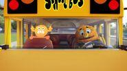 Penny & Rocky on a bus