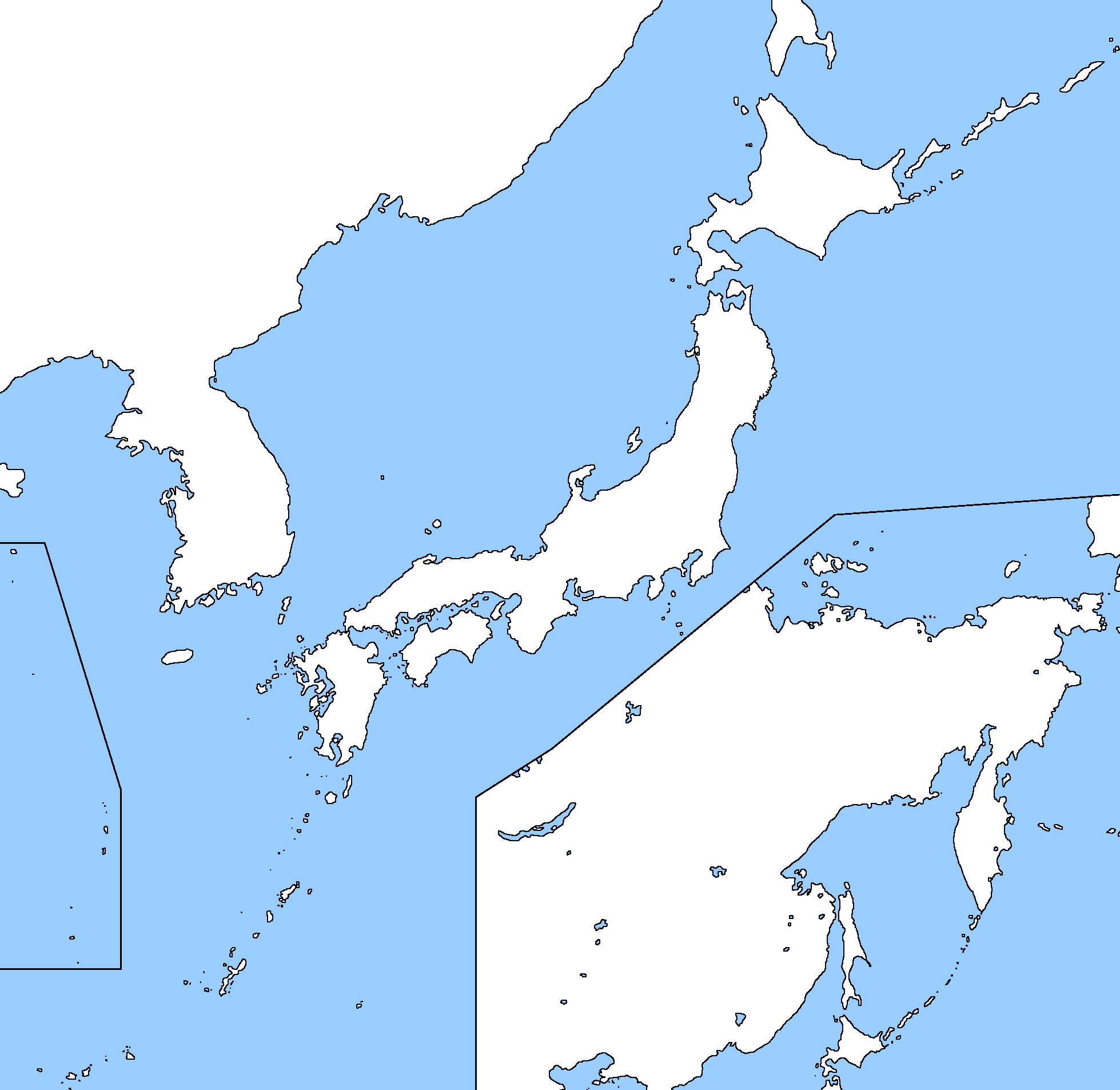 Image Blank Map Of Japan And Korea Including Russian Far East - Japan map 2015