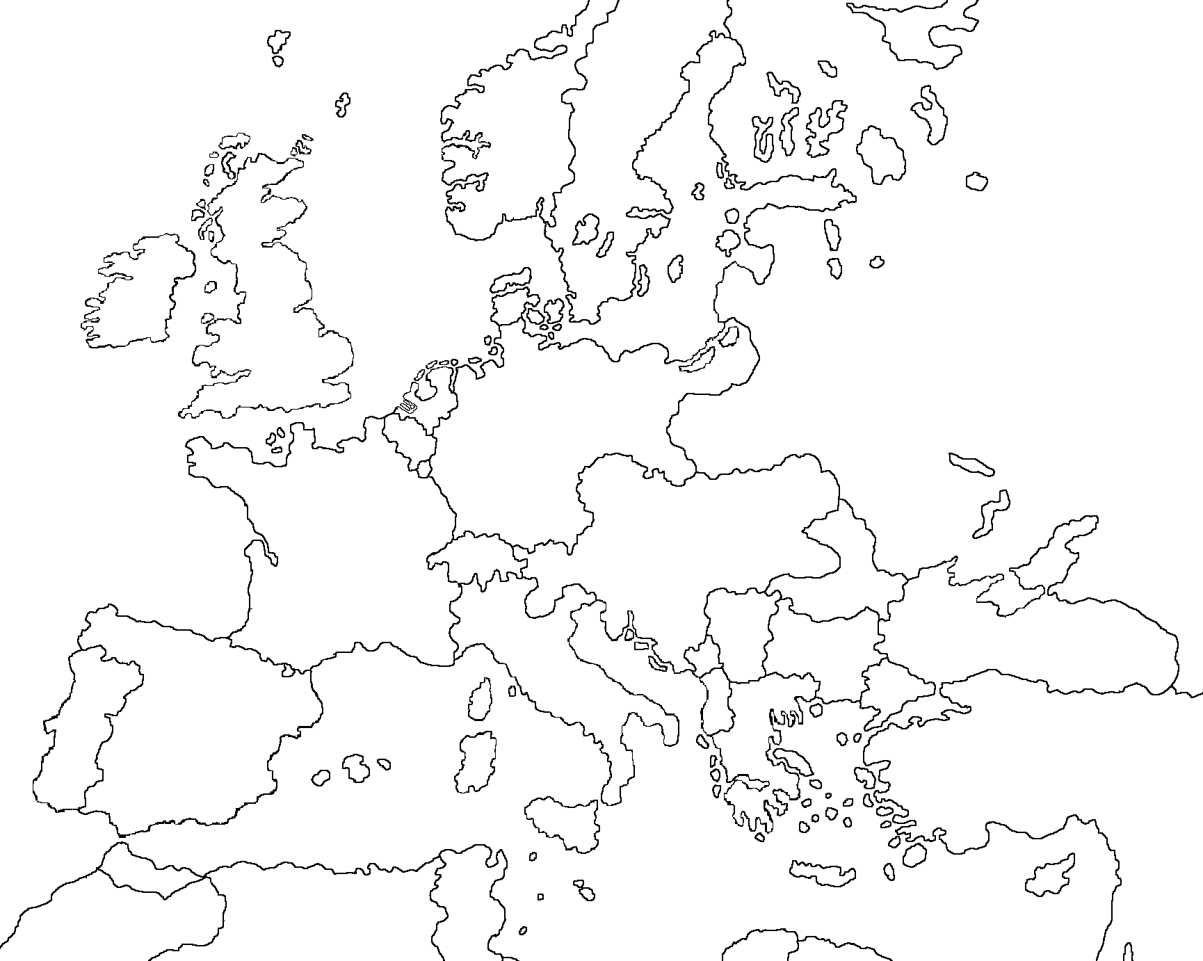 outline map europe 1914