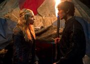 Clarke and Bellamy talking
