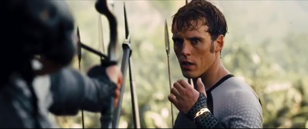 File:Katniss aiming her arrow at Finnick.png