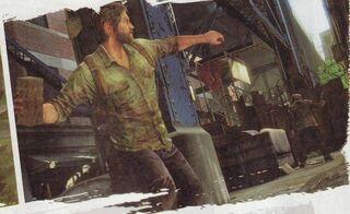 Joel Throwing brick at man