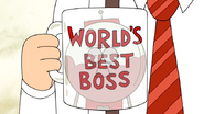 S4E33.194 Benson Staring at the World's Best Boss Mug