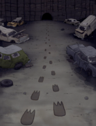 S5E19.064 Footprints Leading to a Cave