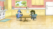 S6E08.070 Mordecai, Muscle Man, and Hi-Five Eating Sandwiches