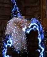 Merlin magic is ray form with sparks.