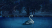 Odette into a swan from the first movie.