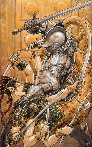 Helm fighting Druaga