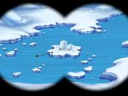 Polar Peril - Binocular view of the iceberg with two igloo houses