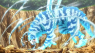 Toriko hitting Watiger with Kugi Punch