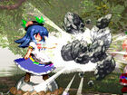 Tenshi smashes two keystones together to crush her opponent.