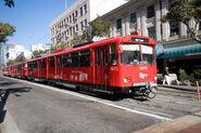 San Diego Trolley going through downtown