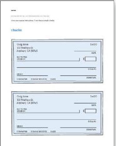 printable checks for play or teaching check-writing skills ...