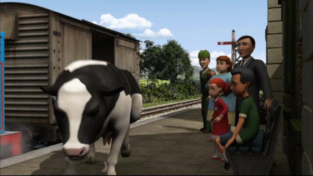 TV版第15シーズンで牛に驚いた水色のカーディガンを着た女性