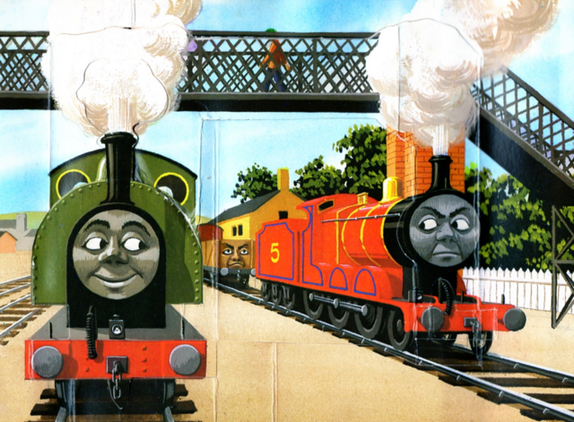 File:JamestheRedEngineandtheTroublesomeTrucks2.png