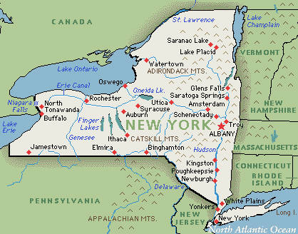 New York On Map Of Us New York Map - New york on map of us