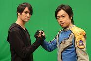 Hassei with Takeshi behind the scene
