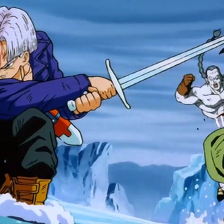 Trunks defeating Android 14 using his sword