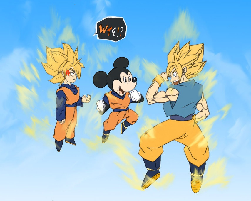 Image - Goku Mickey and Goten by Ikki kun.jpg | Ultra ...