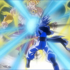 Gogeta vs. Broly in the opening