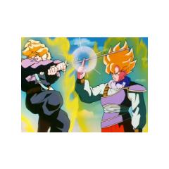 Super Saiyan Goku blocking Super Saiyan Future Trunks' attack