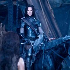 Sonja with Lucian in <i>Rise of the Lycans.</i>