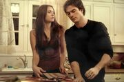 Damon & elena in elena's kitchen