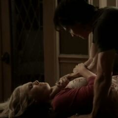 Damon attacking Caroline