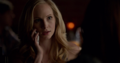 Caroline talking with Stefan on the phone 5x18