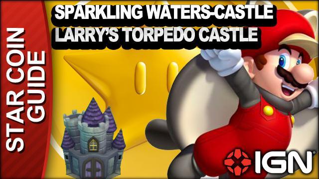 New Super Mario Bros. U 3 Star Coin Walkthrough - Sparkling Waters-Castle Larry's Torpedo Castle
