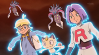 Clemont, James, Meowth and Malamar