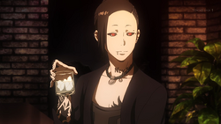 Uta having a drink in Itori's bar
