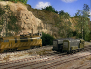 Diesel 10 with his self-portrait and his sidekicks, Splatter and Dodge