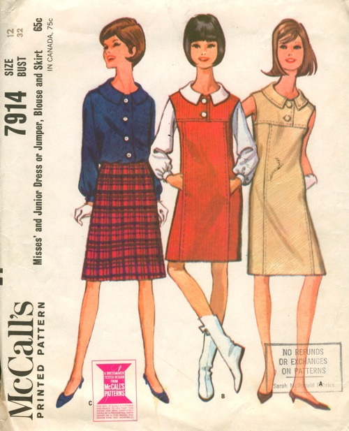 1960s dress/jumper, blouse and skirt pattern after Courrèges - McCall's 7914