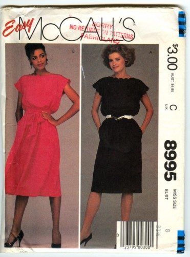 Mccalls 8995 easy pullover dress straight or full skirt uncut size 8 1a68096e