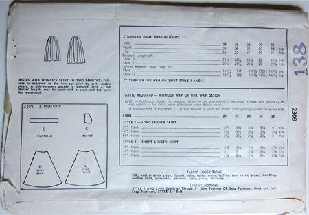 Vintage Simplicity 2309 Skirt Back