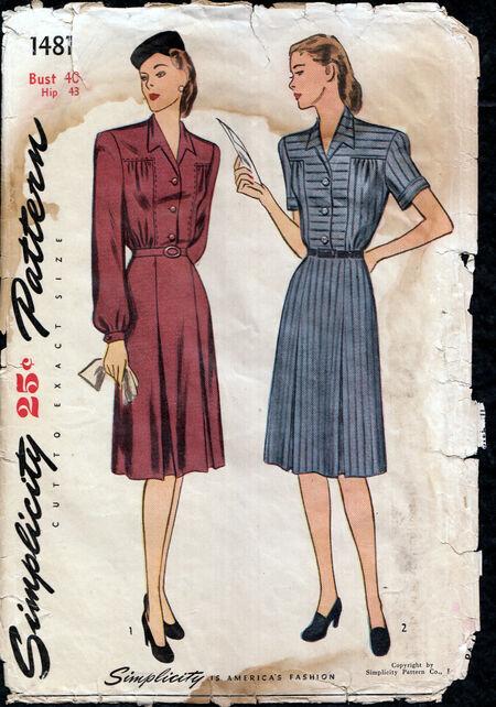 Vintage 1940s Dress large from Penelope Rose at Artfire
