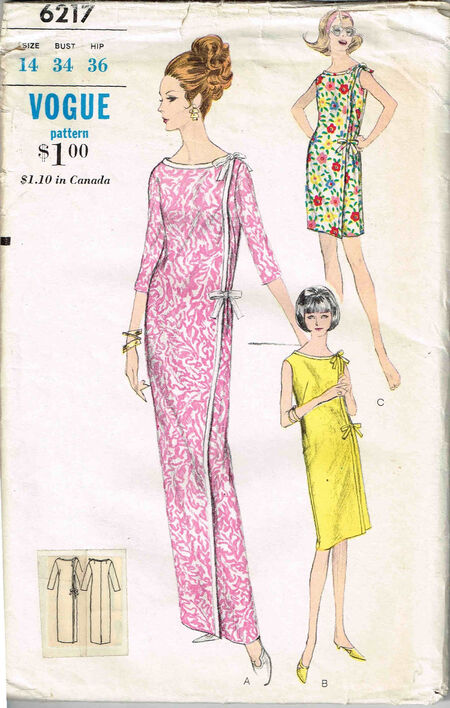 C1960s 6217 Vogue Wrap Dress Size 14
