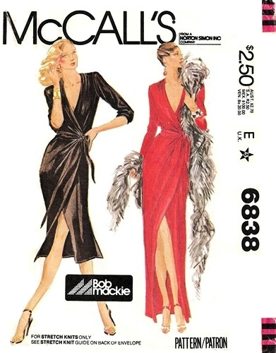 McCall's 6838 1970s Bob Mackie disco wrap dress pattern