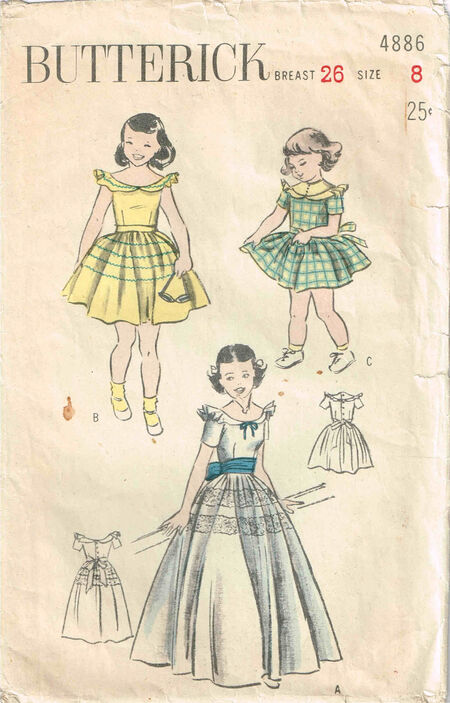 C1940s 4886 Butterick Girls Dress Size 8