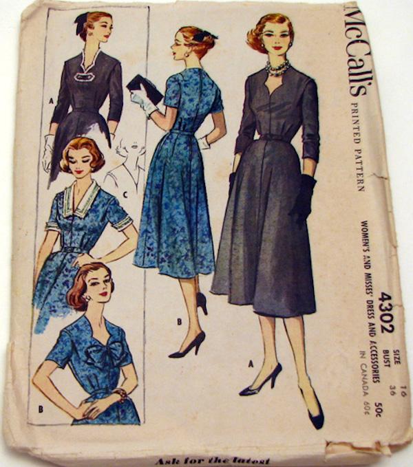 McCall 4302 dress copyright 1957 a 500p