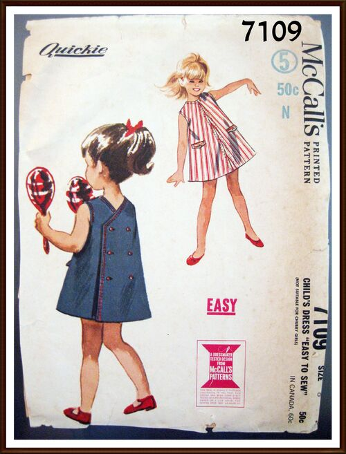 McCALLS Pattern 7109 Childs Dress Size 6