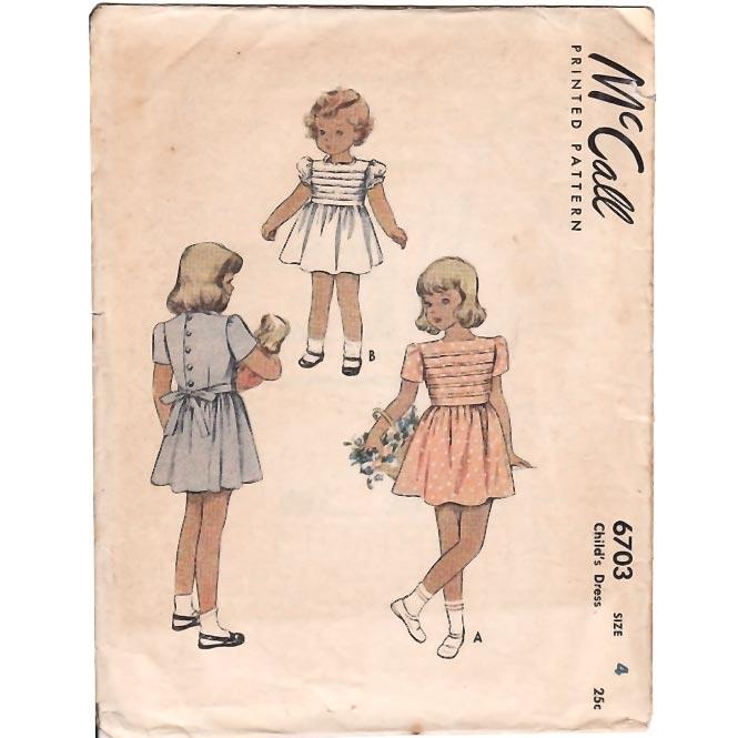 Vintage 1940's Girl's Square Neck Dress